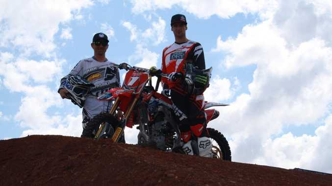 SUPERCROSS STARS: Brett Metcalfe and Gavin Faith check out the track at Toowoomba Showgrounds ahead of the final round of the Australian Supercross Championships.
