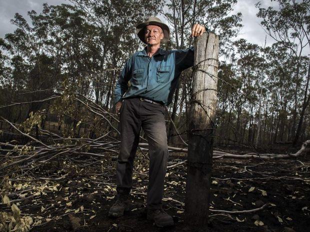 Benaraby grazier Jonathan Mann lost 3500 acres of feed to a bushfire.
