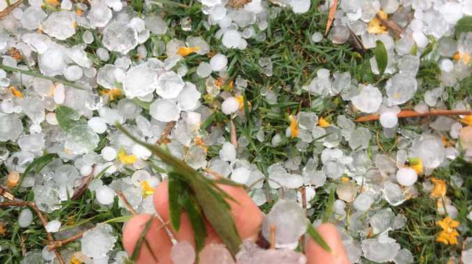 LIKE SNOW: The hail that fell at Goomeri was small in size but lay thick like snow on the ground.