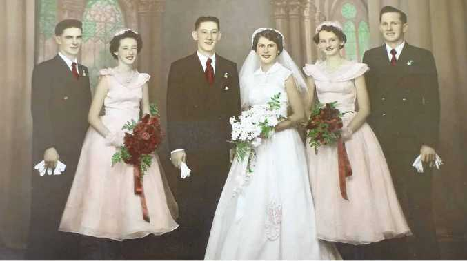 Lorna and Vic Moy on their wedding day in 1953 with their attendants (from left) Clem Hancock (dec), Loretta Moy (now Butters), Roma Davis and Doug Whitehead.