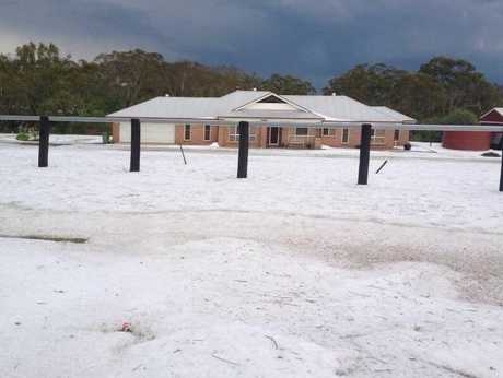 Helen Wood's home in Boland St, Ramsay, resembled a winter wonderland after yesterday's intense hail storm.