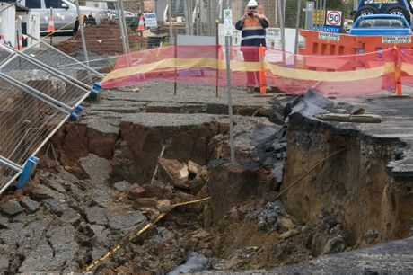 The collapse in Neil St, Toowoomba.