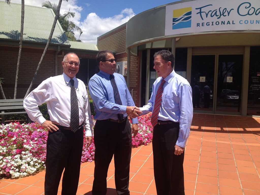 Wide Bay Water chairman Cliff Searle, new WBW chief executive Peter Care and Fraser Coast Regional Council Mayor Gerard O'Connnell outside the council's Hervey Bay office.