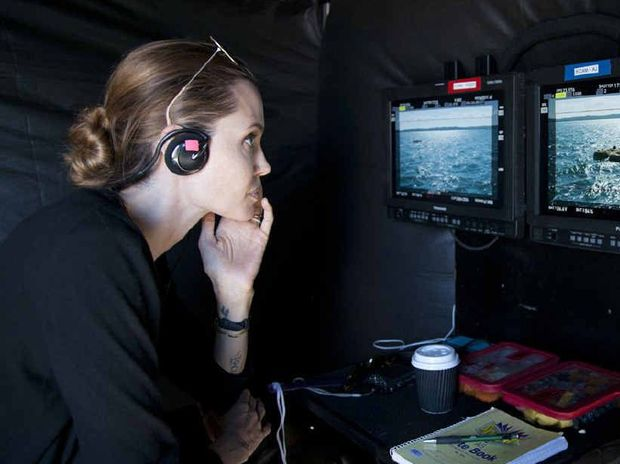 STAR QUALITY: Angelina Jolie during filming of her new movie Unbroken in Moreton Bay.