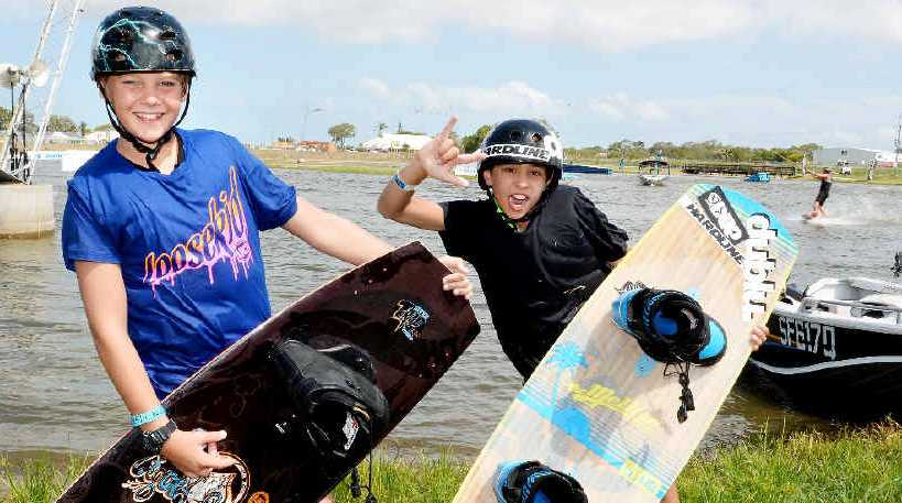 Junior wakeboarders Cameron Bruce and Alex Brookes.