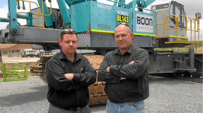 NOT HAPPY: Boom Logistics Crane and Heavy Haulage manager Matt Arkinstall and operations manager Shane Morgan aren't happy with the changes.