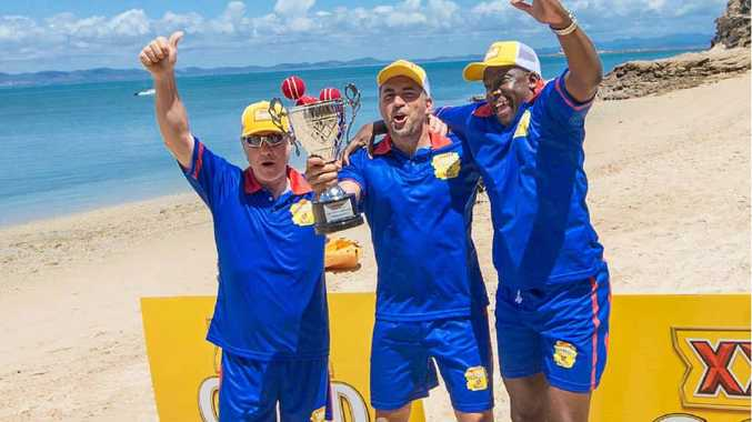 CELEBRATIONS: England trio Robin Smith, Adam Hollioake and Gladstone Small celebrate after their one-run win over Australia in the XXXX GOLD six-a-side Ashes beach cricket match on XXXX Island.
