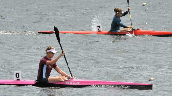 RISING TALENT: Alyce Burnett, left, gets down to business at the Queensland championships at Lake Kawana.