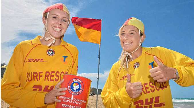 HELP LIFESAVERS: Caitlin Knight and Jess Simpson launch the Surf Safe Appeal at Dicky Beach.