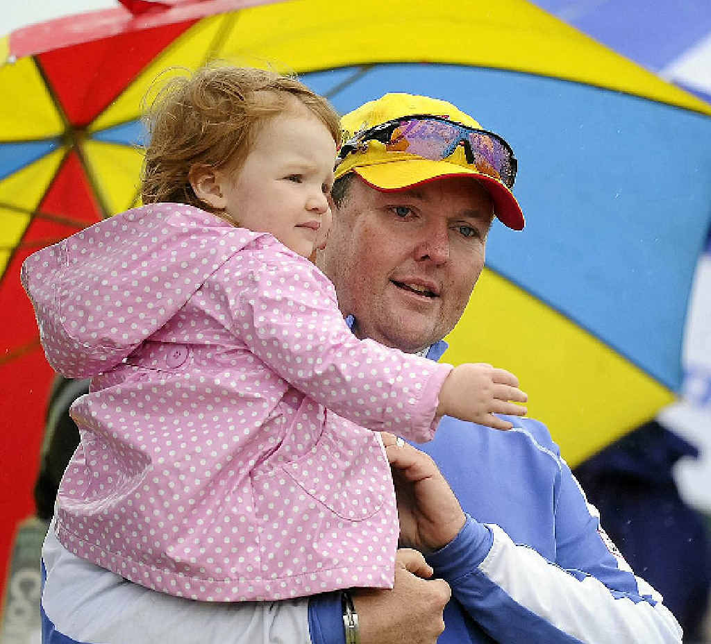 Jarrod Lyle, who has beaten leukemia for a second time, wears his heart on his sleeve with daughter Lusi at Royal Melbourne.