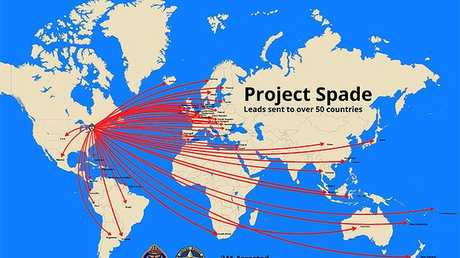 A map showing the leads following in the global operation. Image: AFP