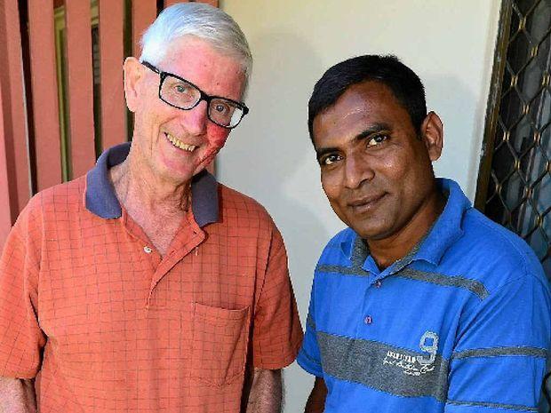 Dan Coughlan with friend and refugee Satkuruthevan Vadivel.