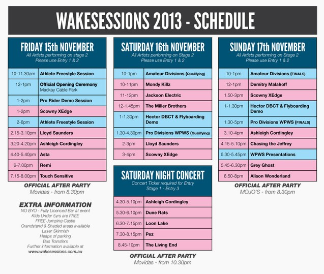 Wakesessions schedule.