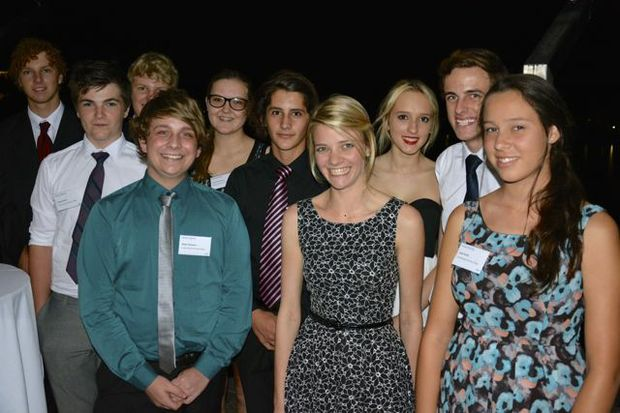 Jessica Watson with students from Coolum Beach Christian College who were inspired by her talk.