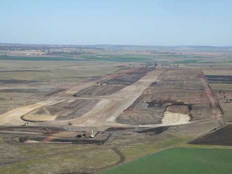 A bird's eye view taken in September of the Wellcamp Airport under construction.