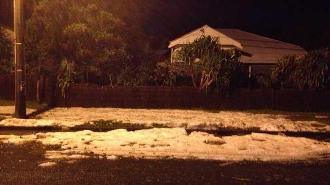Hail in Jonson St, Byron Bay on Saturday night.