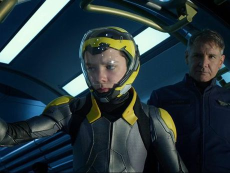 Asa Butterfield and Harrison Ford in a scene from the movie Ender's Game.