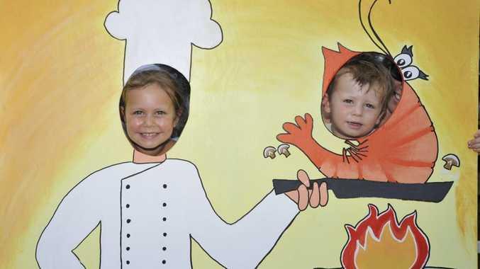 Chloe and Finnley Thirkell of Lennox Head at the 2013 Ballina Prawn Festival.