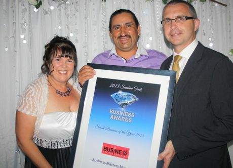 Vickie and Dranko Magic of Business Matters Magazine are presented with the Small Business of the Year award by Suncorp's James McLellan at the 2013 Sunshine Coast Business Awards, Palmer Resort Yaroomba Photo: Erle Levey / Sunshine Coast Daily