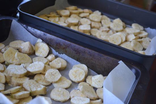 Use green cooking bananas or plantains to make banana flour.