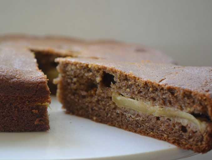 A homemade banana flour apple tea cake.