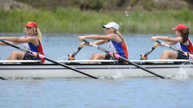 ON THE WATER: Lower Clarence under-15 girls competing in the under-15/16 quad section of the annual Grafton Rowing Club Regatta on the Clarence River on Sunday. Photo: Debrah Novak / The Daily Examiner