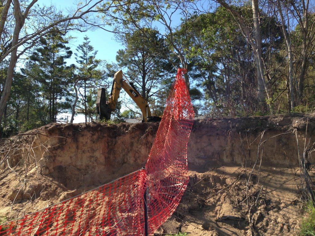 An excavator is felling and breaking up trees on Toogoom seawall.