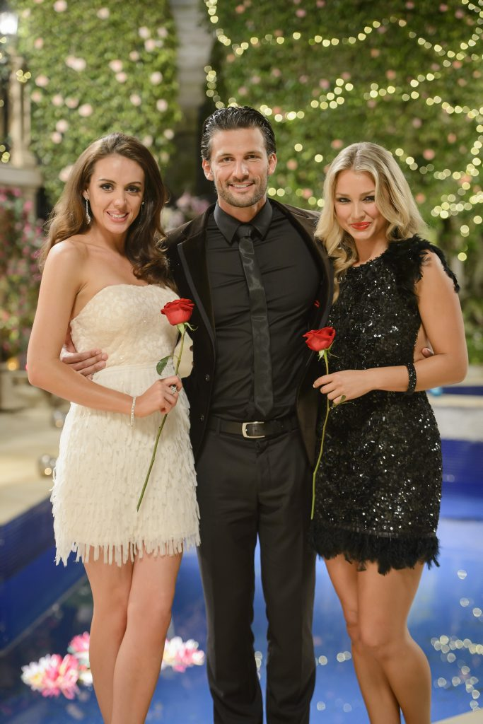 The Bachelor Tim Robards with grand finalists Rochelle, left, and Anna. Supplied by Network Ten.