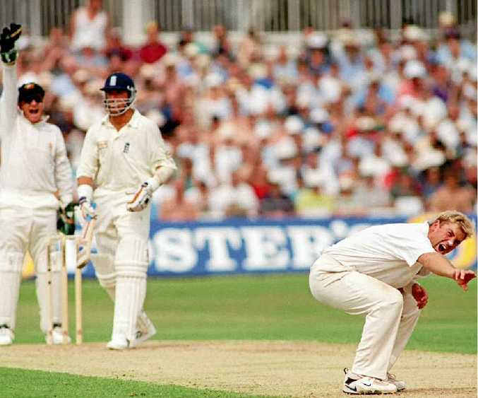 TORMENTOR IN CHIEF: Shane Warne and wicketkeeper Ian Healy appeal for the dismissal of England's Alec Stewart at the Oval in 1997, Adam Hollioake's last for England against Australia.