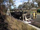 VIDEO: Bus destroyed in Warrego Highway blaze