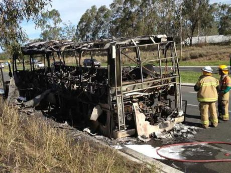 The bus destroyed by fire on the Warrego Hwy just east of Toowoomba.