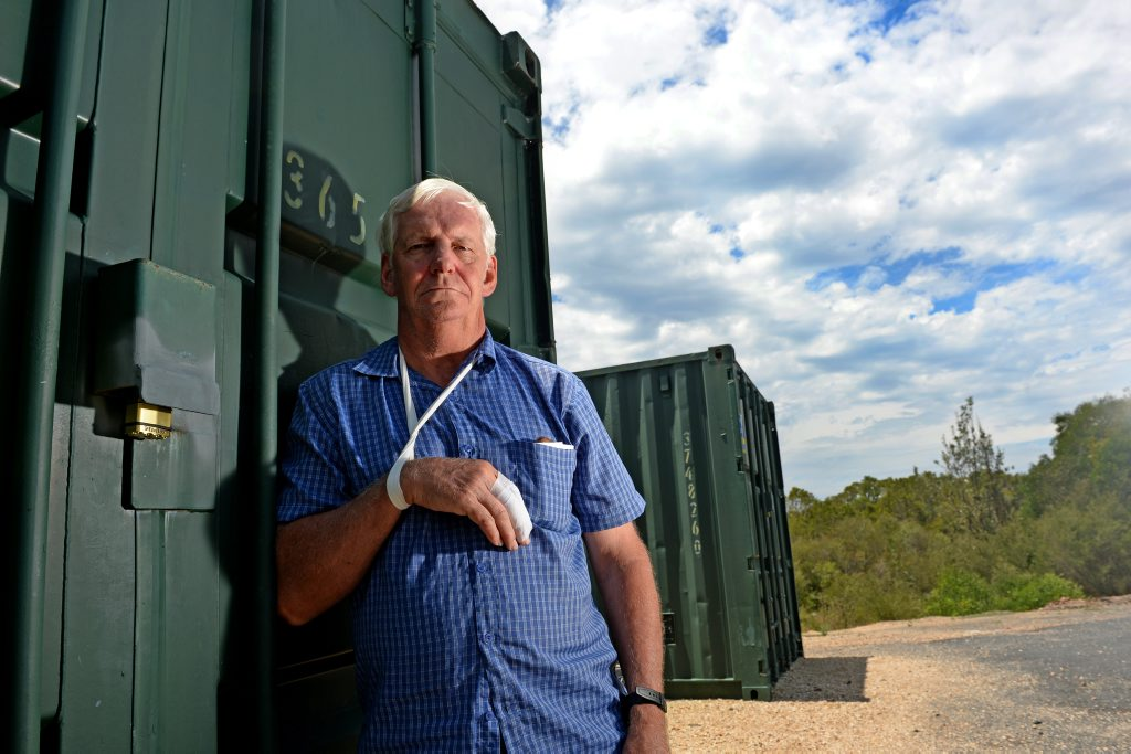 Cabarita Pottsville Lions Club president Kevin Francis with the storage containers that were broken into.