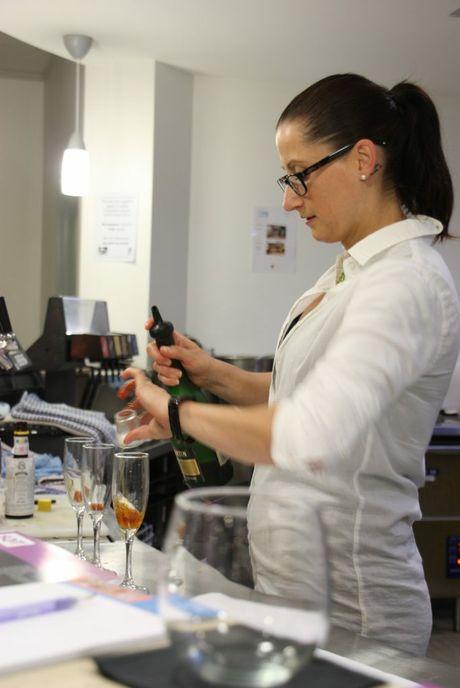 Hospitality teacher from SQIT, Corrie Van-Brooks, runs a cocktail making class.