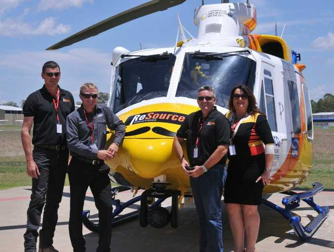 Jason Thomasson (ReSource Solutions), Graham Sheppard (RACQ Capricorn Helicopter Rescue Service), Grantley Jack (ReSource Solutions) and Karla Way-McPhail (ReSource Solutions) support Movember. Contributed