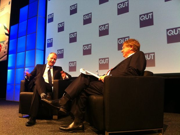 Tabcorp chief David Attenborough speaks at the QUT business leaders forum with moderator, ABC's Kerry O'Brien.