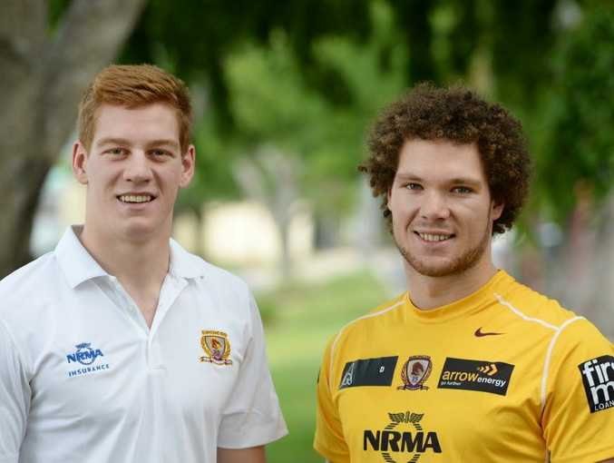 L-R Dan Russell and Kieran Duffin are off to train with the Broncos during the pre-season. Photo: Chris Ison / The Morning Bulletin