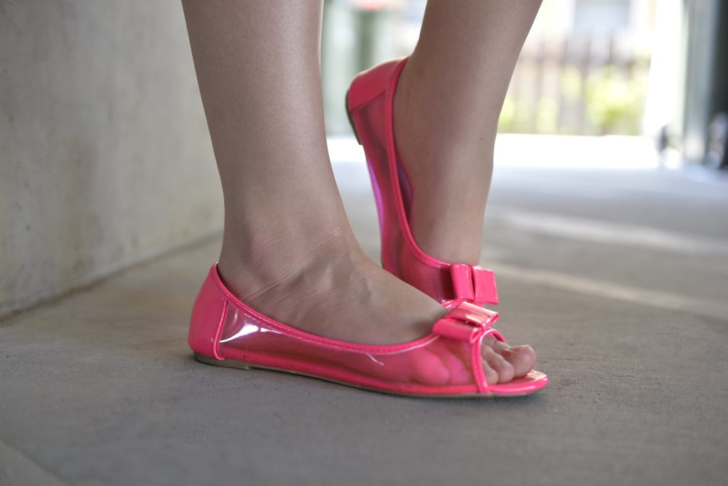 PEEP THROUGH: Free Fusion frisky peep toe ballet flats in pink from Target Australia. These shoes feature a loop bow detail, transparent side panels and cushioned foot bed. ($21, previously $30).