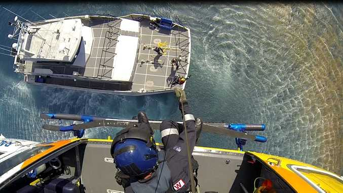 RACQ Capricorn Helicopter Rescue retrieved a 38 year old man suffering decompression sickness over 100 nautical miles out to sea from the Capricorn Coast.  Photo Contributed
