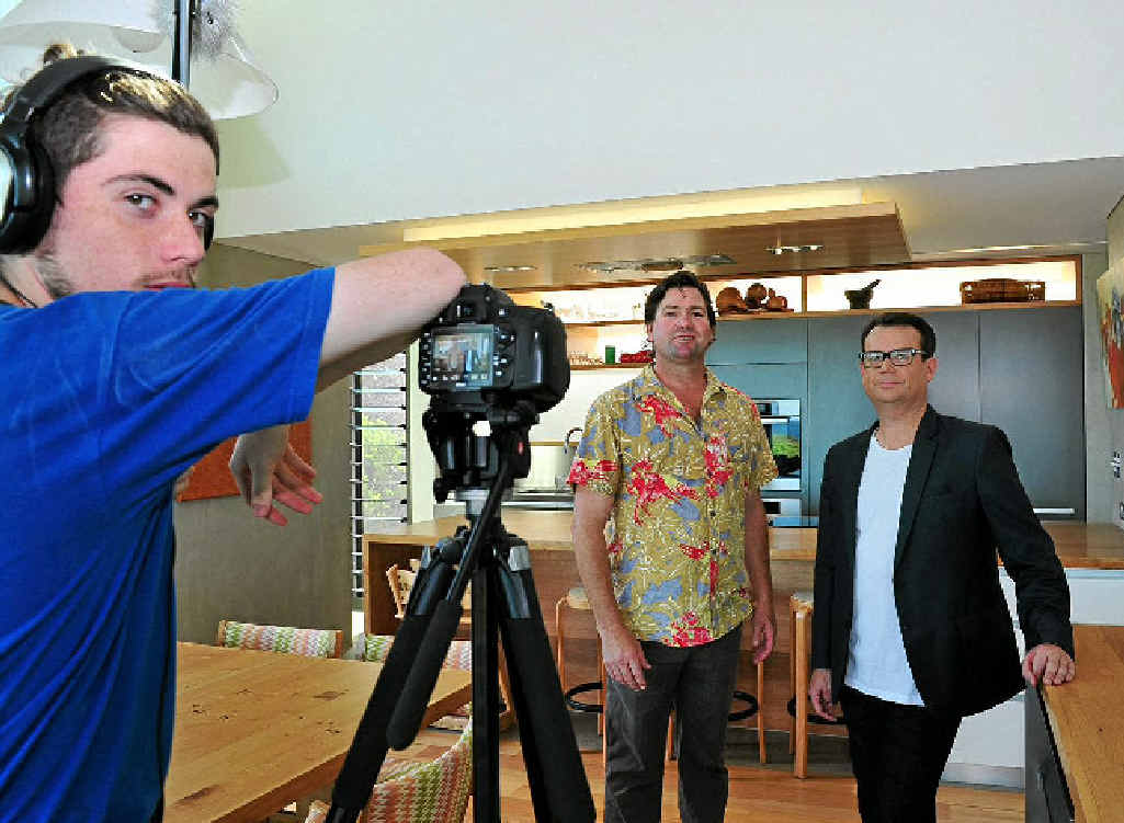 FINE HOME: Daniel Takle, Rob McCready and Gary Takle film Australia's Best Houses at Peregian Beach.