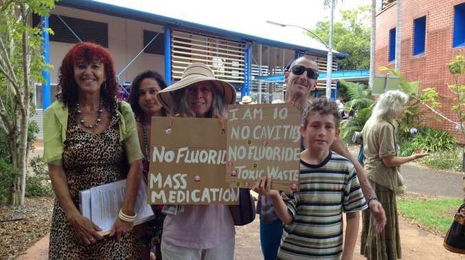 Pictured outside the Byron Shire council were anti-fluoride supporters: L-R Ilga Sleja, Moanna Sky, Catherine Patterson and son Adam Patterson-Atkinson (10) and Andy Holm
