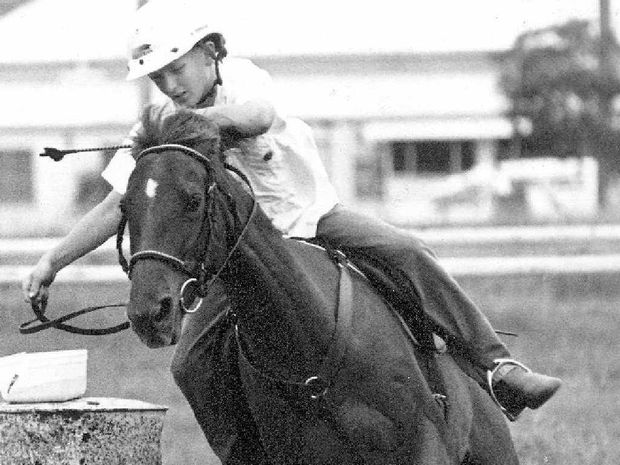 CRACK THE WHIP: Tim Tornaros rides Doongul Comet in the U13 barrel race at Tiaro in October of 1995.