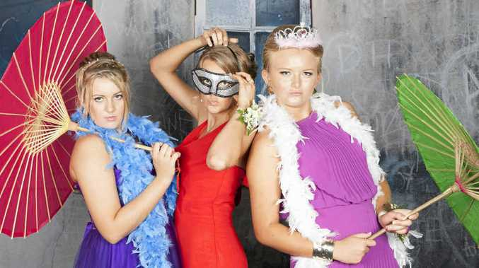 Stephanie McBride, Sophie Arnold and Samantha Plath were among the 104 students to attend the Mackay State High School formal.