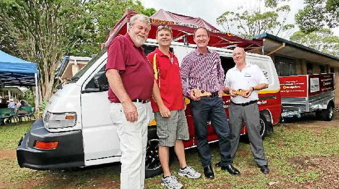 DELIVERY: Men's Shed president Rick Beasley pictured with Buderim Bendigo Community Bank manager Peter Macdonnell, MP Steve Dickson, and bank chairman John Burgess with the new van and trailer.