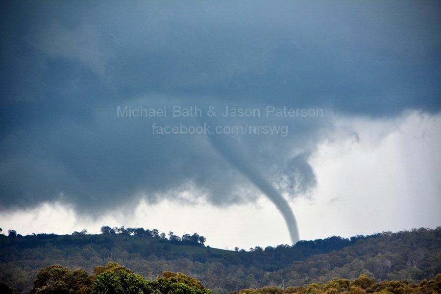 Michael Bath and Jason Paterson captured this amazing image of a tornado at Ben Lomond as viewed from near Glencoe, NSW between 410 and 415pm. Image: https://www.facebook.com/nrswg