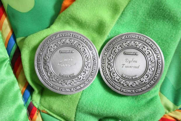 James and Dylan Townsend both received commemorative medallions for being born on Prince George of Cambridge's birthday. Photo Darryn Smith / Sunshine Coast Daily