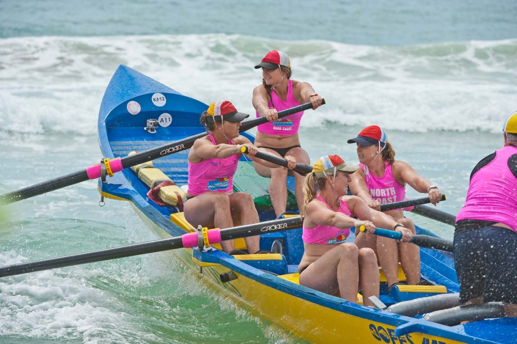Image for sale: 40th Annual Surf Craft Carnival, Coffs Harbour Surf Life Saving Club at Park Beach, Coffs Harbour. The Coffs Harbour womens crew goes out. Photo: Rob Wright / The Coffs Coast Advocate