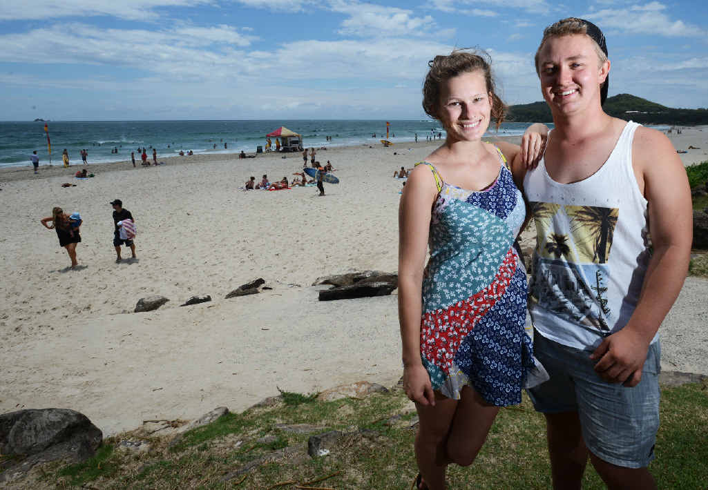 FUN TIMES: Schoolies Phoebe Lewis and Luke Brewer, both 18, of Newcastle, at Main Beach, Byron Bay.