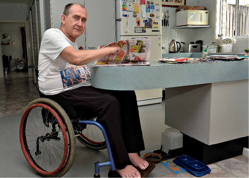 Paraplegic Ake Engman, at home in Mackay, wants everyone to understand the importance of safety while operating a motor vehicle.
