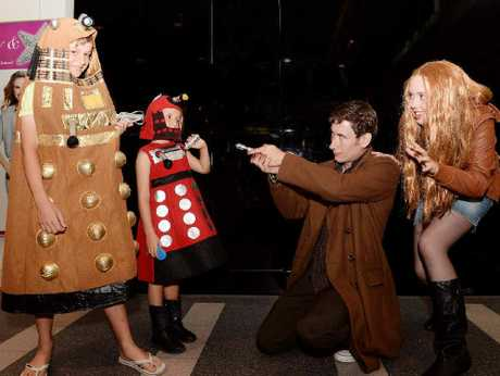 "Dr Who fans (from left) Duke McCulloch, Ruby Van Tongeren,Tyson Dostal and Sophie Tulloch get in character to celebrate ""more than just a sci-fi show""."