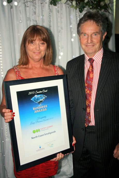 Kerry and Barbara O'Donnell of North Coast Smallgoods with the Hospitality Large Business Award at the 2013 Sunshine Coast Business Awards.